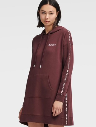 DKNY Women's Logo Rib Hooded Sneaker Dress - Plum - Size S