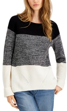 Style&Co. Style & Co Colorblocked Pointelle Sweater, Created for Macy's