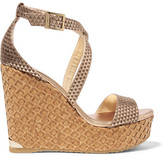 Jimmy Choo Portia Embossed Leather Wedge Sandals - Gold