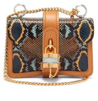 Chloé Aby Mini Python-effect Leather Shoulder Bag - Python