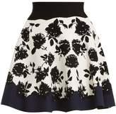 Alexander McQueen Rose-intarsia A-line knit skirt