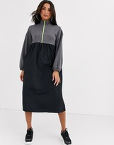 Asos Design DESIGN sweat dress with neon zip in grey marl