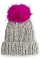 Eugenia Kim Rain Hat with Fur Pom Pom, Gray/Pink