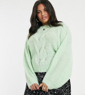Asos DESIGN Curve cable sweater in lofty yarn with volume sleeve
