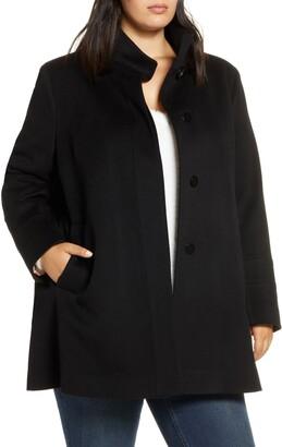 Fleurette Stand Collar Wool Car Coat