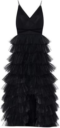 True Decadence Black Tulle Tiered Gown