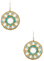 Miguel Ases Circle Beaded Statement Earrings