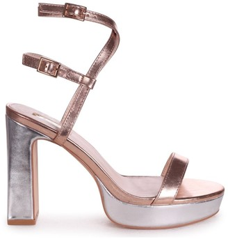 Chloé Linzi Rose Gold & Silver Metallic Platform Heels With Double Crossover Ankle Straps