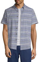 ST. JOHN'S BAY St. John`S Bay No Tuck Mens Short Sleeve Striped Button-Front Shirt