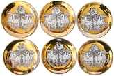 One Kings Lane Vintage Fornasetti Roman Chariot Coasters - Set of 6 - The Emporium Ltd. - gold/black/white