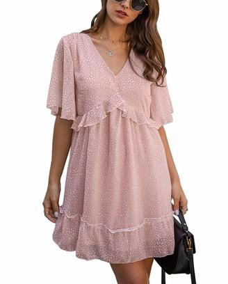KIRUNDO Summer Womens Floral Ruffle Hem Mini Dress Short Sleeves V Neck High Waist Loose Boho Dress (XX-Large