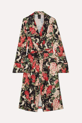 Anna Sui Rose Garland Floral-print Crepe Robe - Green