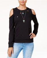 Almost Famous Juniors' Ripped Cold-Shoulder Sweatshirt