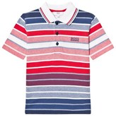 BOSS Red and Blue Stripe Pique Polo