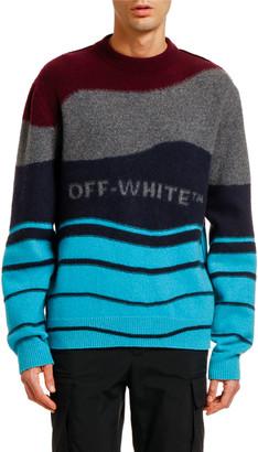 Off-White Off White Men's Intarsia Felted Crewneck Sweater