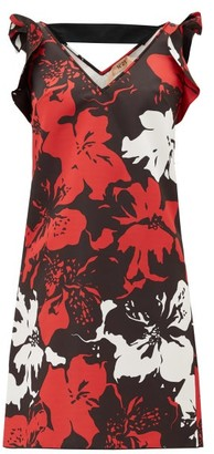 No.21 No. 21 - Ruffled Floral-print Satin Mini Dress - Womens - Black Red