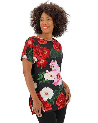 Capsule Black Floral Longer Length Boxy Top