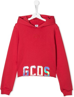 Gcds Kids TEEN mirror logo applique hoodie