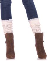 Leg Avenue Ivory Lace Ruffle Crochet Slouchy Knee-High Socks
