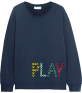 Mira Mikati Play Eyelet-embellished Cotton-jersey Sweatshirt - Navy