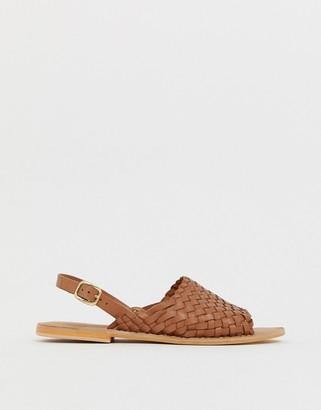 Asos Design DESIGN Fraction leather woven flat sandals-Tan