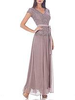 JS Collections V-Neck Soutache Bodice Gown