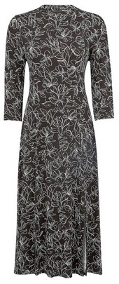 Dorothy Perkins Womens Black Floral Print Split Midi Dress, Black