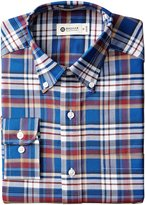 Haggar Men's Large Plaid Fancy Pinpoint Oxford Long Sleeve Regular Fit Button Down Collar Dress Shirt
