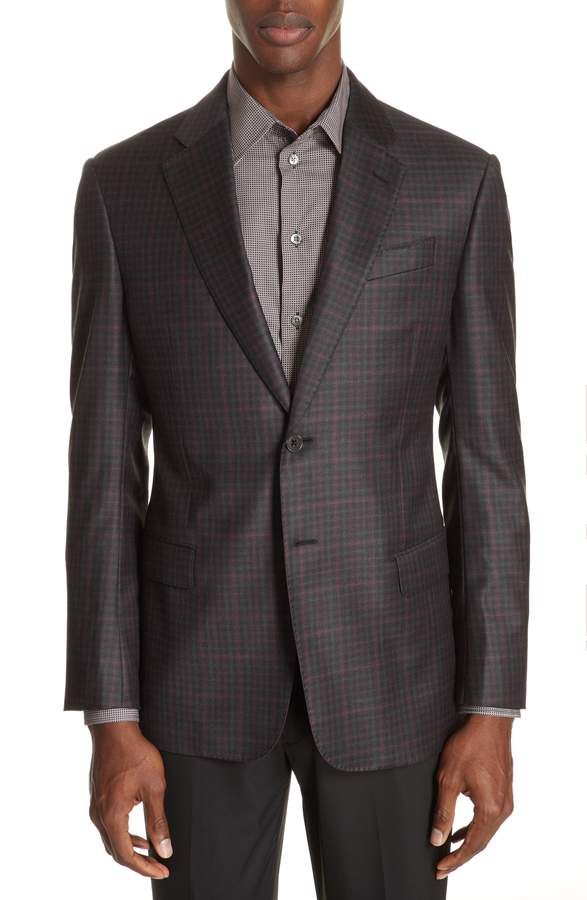 Emporio Armani G-Line Trim Fit Plaid Wool Sport Coat
