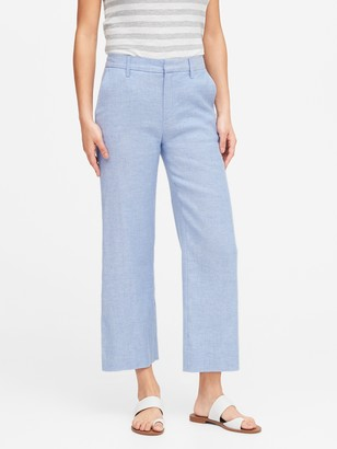 Banana Republic Slim Wide-Leg Linen-Cotton Cropped Pant