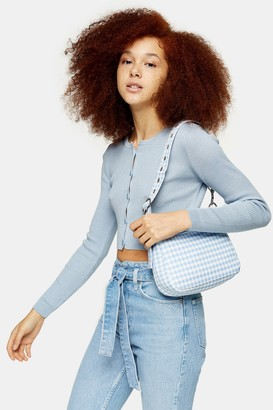 Topshop Womens Pale Blue Button Through Knitted Cardigan - Pale Blue