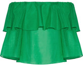 Alice + Olivia Alice Olivia - Meagan Off-the-shoulder Ruffled Cotton And Silk-blend Top - Green