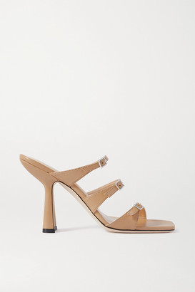 BY FAR Malene Buckled Leather Mules - Neutral