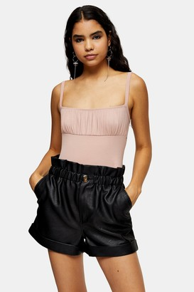 Topshop Womens Ruched Square Neck Bodysuit - Nude