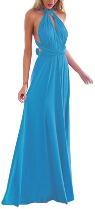 Xas Womens Bridesmaid Elegant Convertible Transformer Infinity Multi Way Wrap Solid Color Cocktail Dress Off Shoulder V Neck Bandage Long Maxi Dress L Sky Blue 12