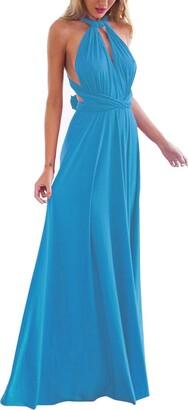 Xas Womens Bridesmaid Elegant Convertible Transformer Infinity Multi Way Wrap Solid Color Cocktail Dress Off Shoulder V Neck Bandage Long Maxi Dress S Sky Blue 8