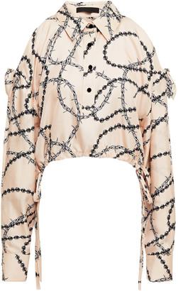 Alexander Wang Cold-shoulder Cutout Printed Silk-twill Blouse