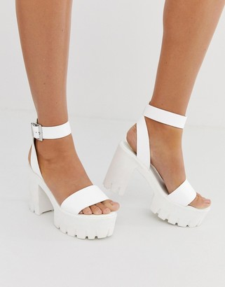 Asos Design DESIGN Noticeable chunky platform heeled sandals in white
