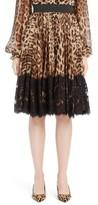 Dolce & Gabbana Women's Lace Overlay Leopard Print Chiffon Full Skirt