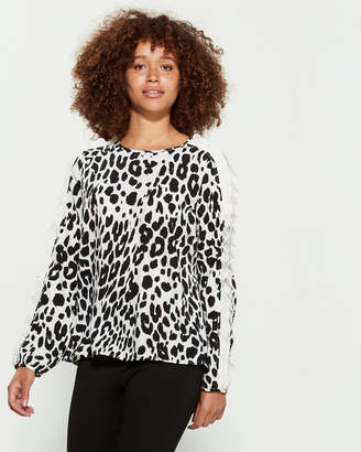Fever Long Sleeve Leopard Print Blouse