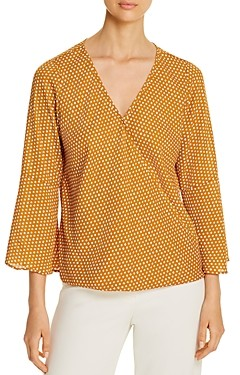 Status by Chenault Printed Faux-Wrap Top