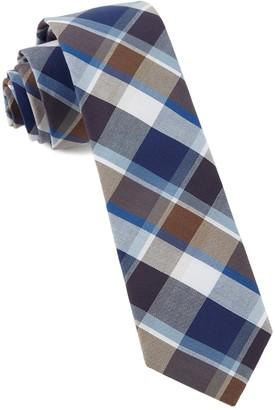 Tie Bar Gear Plaid Brown Tie