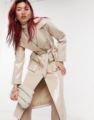 Urban Code Urbancode high shine PU trench coat in beige