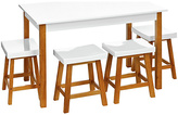 Premier Housewares Pine Dining Table & 4 Stools - White