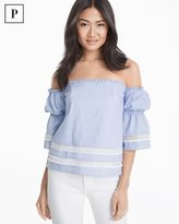 White House Black Market Petite Off-the-Shoulder Cotton Dobby Top