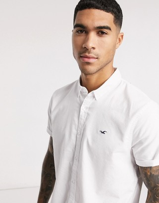 Hollister slim fit short sleeve shirt in white