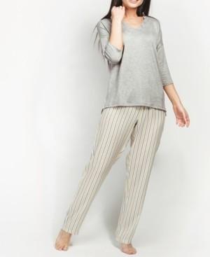 MOOD Pajamas Ultra Soft Striped Grace 3/4 Sleeve Pajama Set