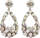 Bavna Rhodium-Tone Labradorite, Rhodolite & Champagne Diamond Earrings