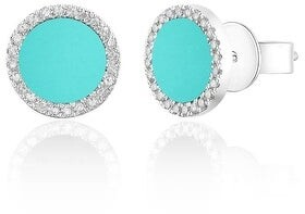 Overstock Diamond & Turquoise Circle Disc Studs Earrings 14k Yellow Gold 1/10ct by Joelle Collection