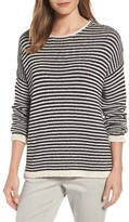 Eileen Fisher Women's Stripe Knit Cotton Blend Boxy Top